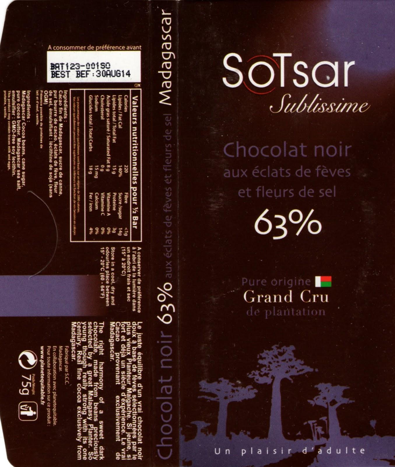 tablette de chocolat noir gourmand sotsar chocolat noir aux eclats de fèves et fleurs de sel madagascar 63