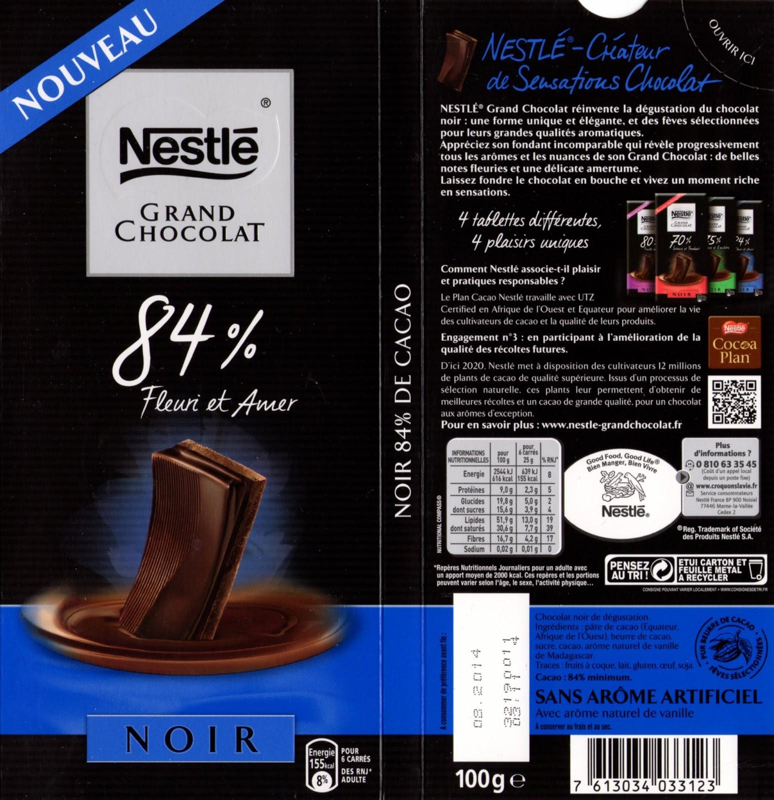 tablette de chocolat noir dégustation nestlé grand chocolat fleuri et amer 84