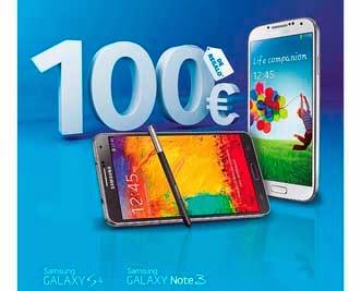 Promoción 100€ gratis con un Samsung Galaxy S4 o Note 3 en febrero 2014