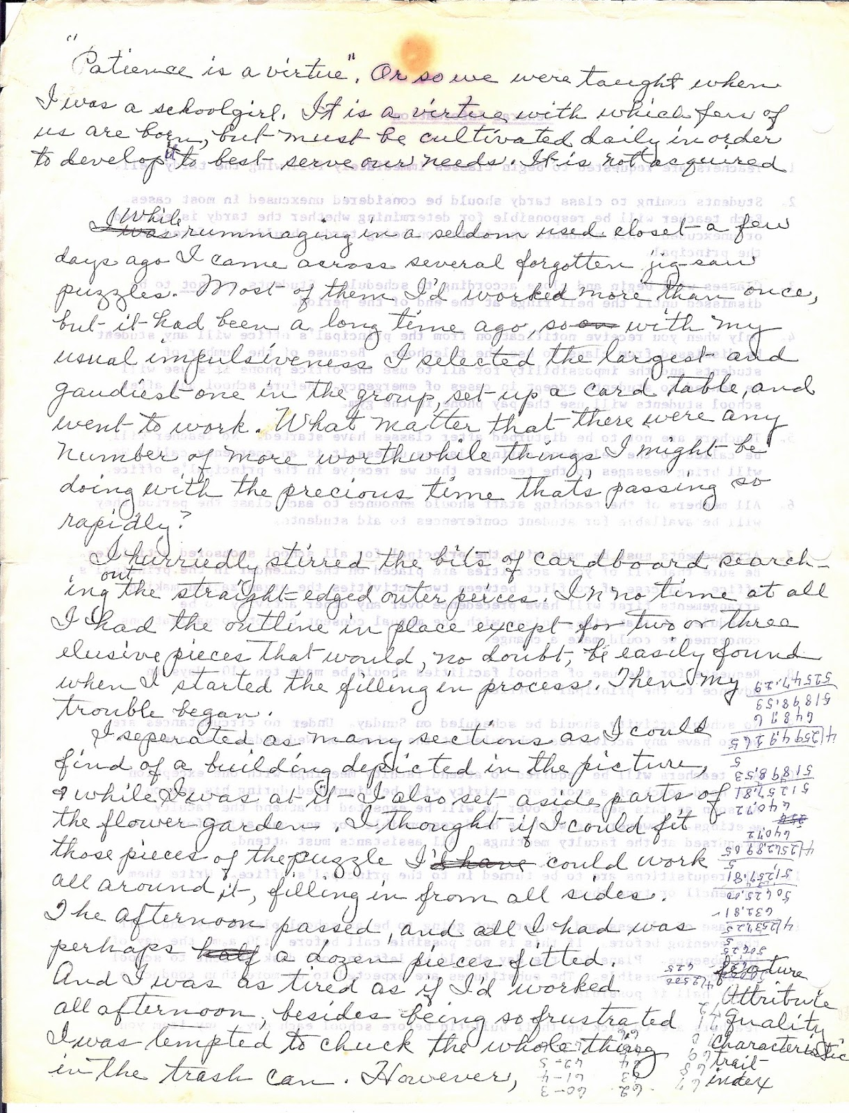 audrey s ambition she loved to write and she wrote on anything and everything i thought you might enjoy seeing the pages on which she inscribed the above essay