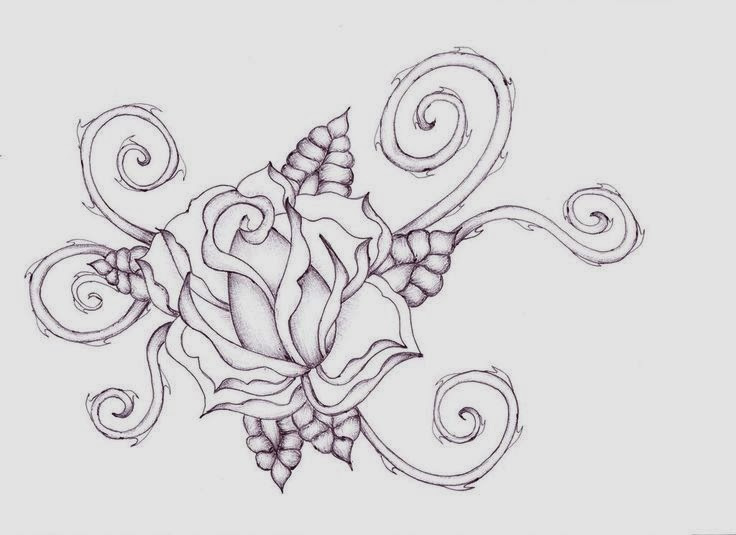 Rose leaves and vines tattoo stencil