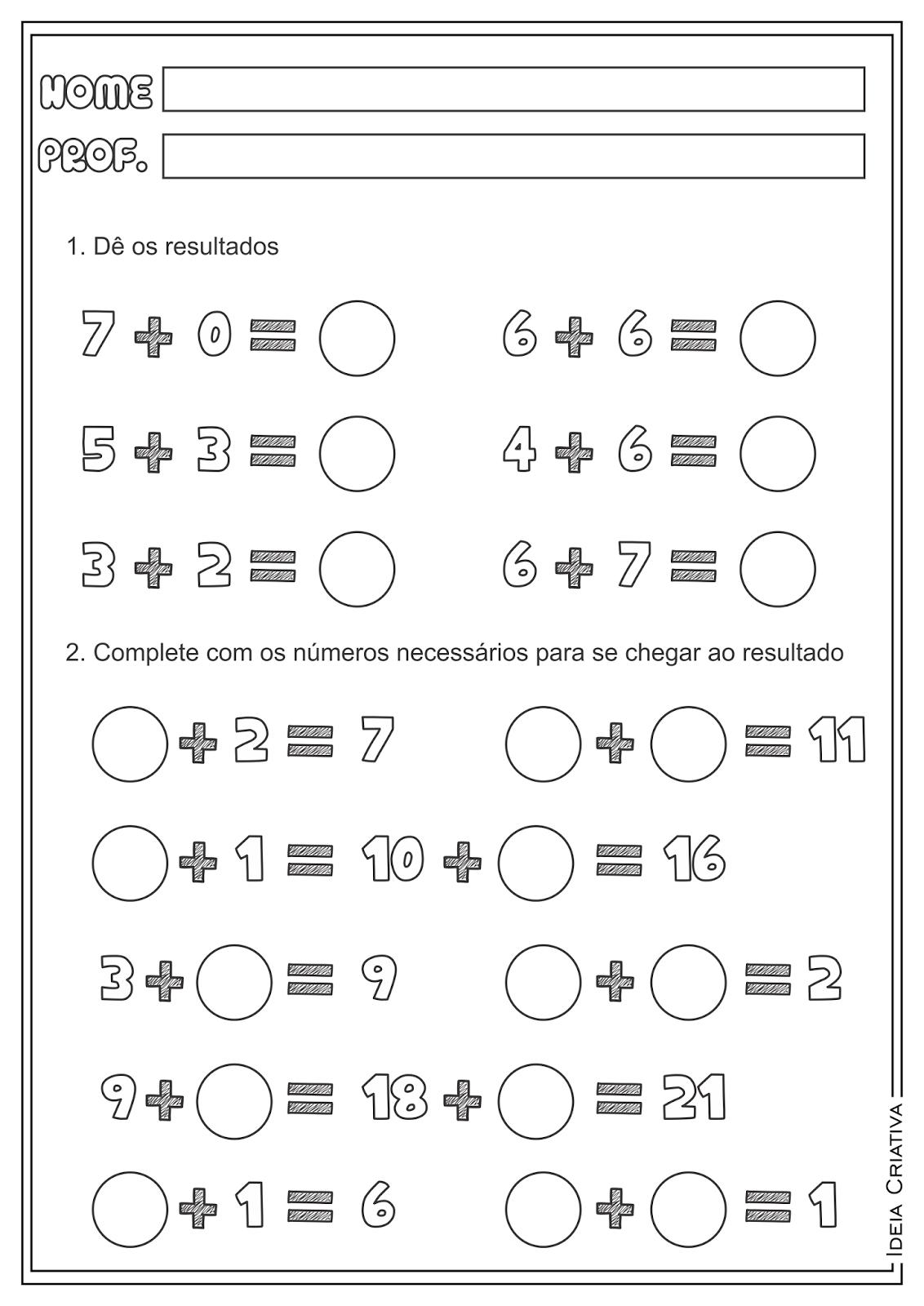Atividades Adição Soma Contas Armadas Matemática para Ensino Fundamental
