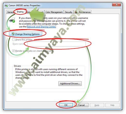 Gambar: Merubah opsi  sharing printer  sekaligus memberikan nama pada printer di jaringan