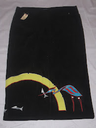 Heron Fishing Faux Suede Skirt (Front)