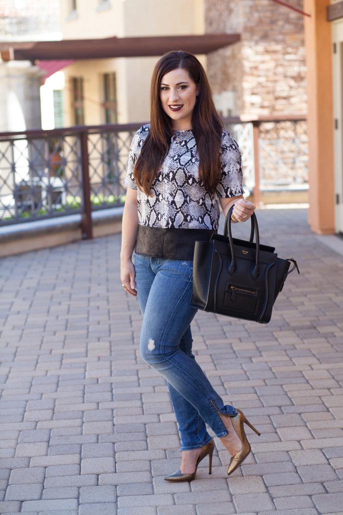fall outfit ideas, snakeskin print top, nine west gold pumps, mother denim, gorjana jewelry