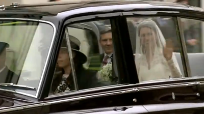 First view of Catherine as she travels with her father in the royal car. YouTube 2011.