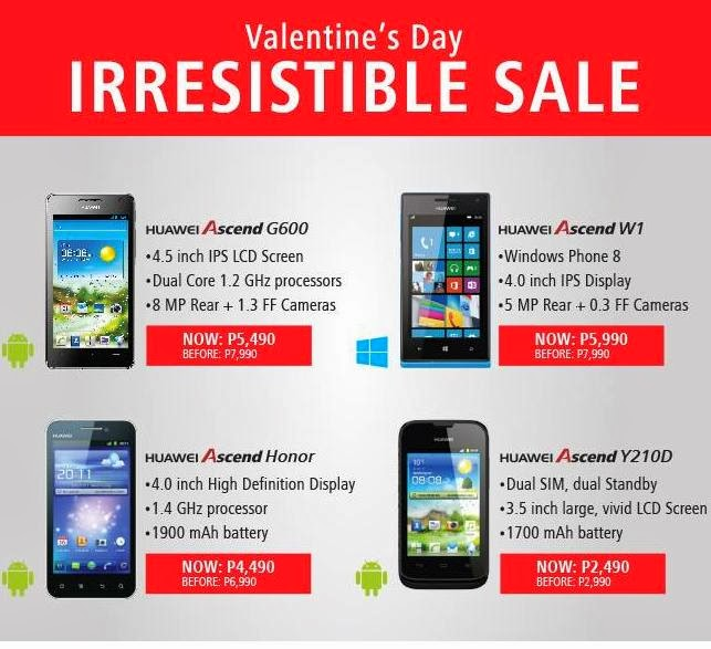 huawei phones price list p7. huawei ascend p6, g600, honor, w1 and y210d android phones valentines price drop promo until march 10, 2014. list p7 m