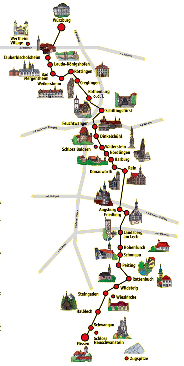 Mapa da Rota Romântica | Cidades e estradas