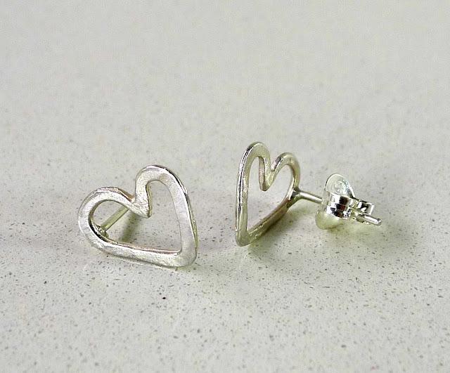 pendientes corazón en plata