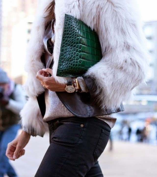 croc leather clutch - fur coat - black jeans - fall fashion