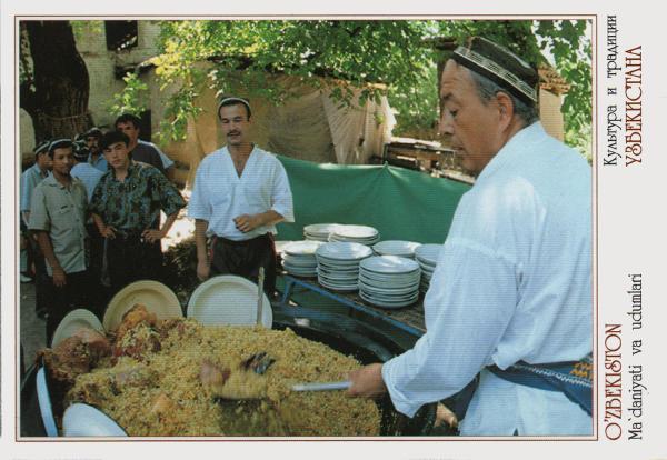 man cooking rice dish at market stall