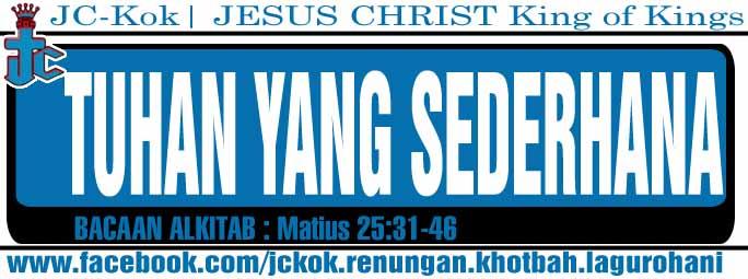 Renungan Kristen- Tuhan yang sederhana