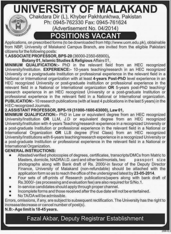 Jobs for Associate Professors in University of Malakand, KPK