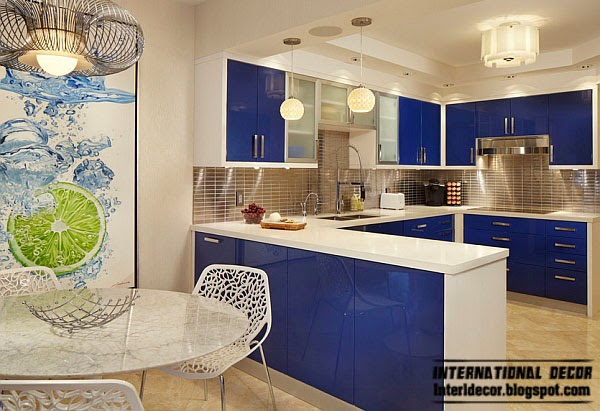 stylish blue kitchen, Fashion color trends 2014 interior design decor