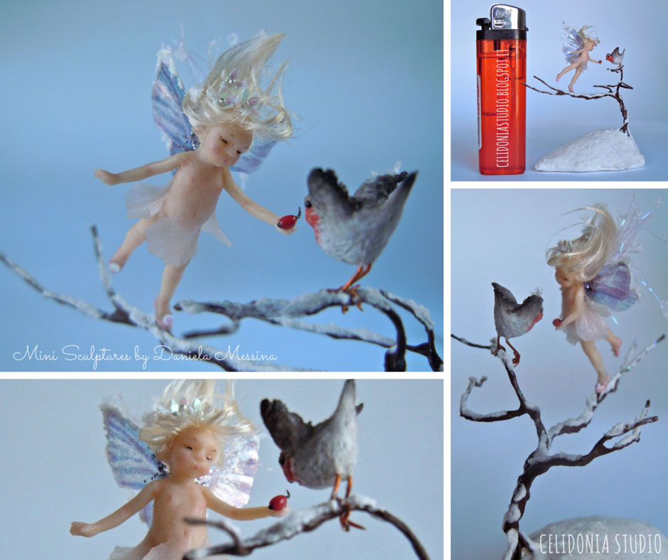Micro Fairy and Robin in 1/12 Scale Sculpted from Polymer Clay