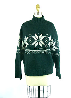 Emerald and Ivory Fair Isle Star Sweater / Pippi Sweater