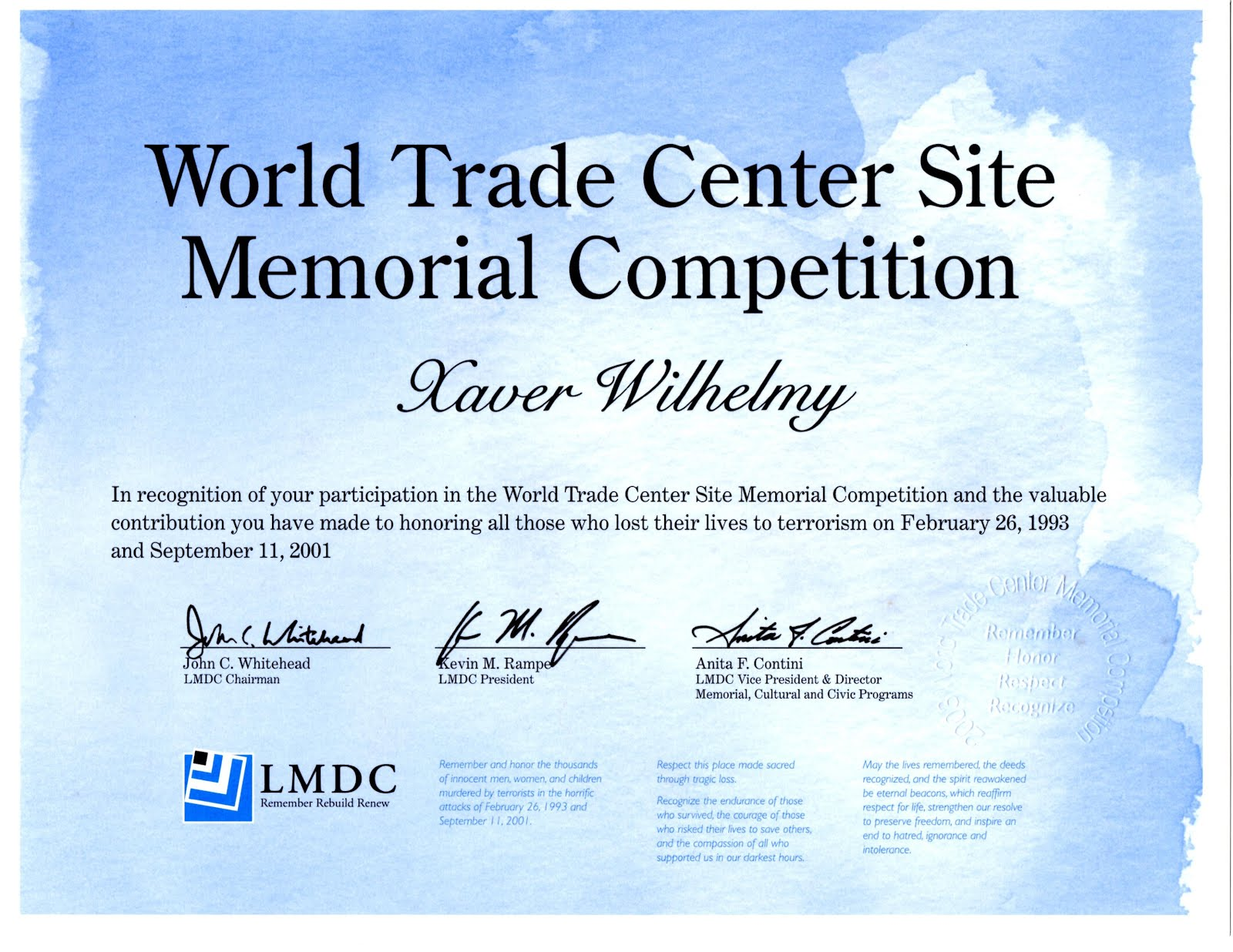 Memorial Competition Certificate