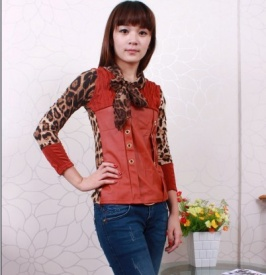 Fashion PU Montage Leopard Long Sleeves Blouse Orange
