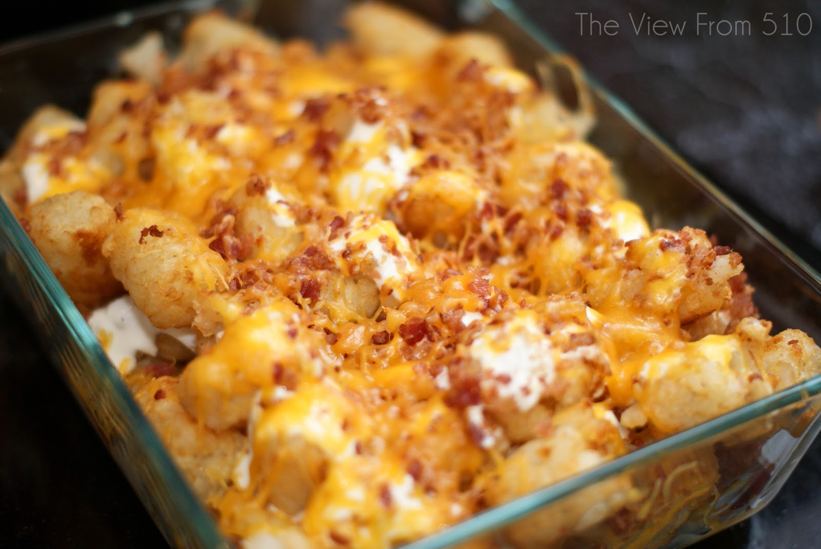 bacon tatertot casserole ingredients 1 bag frozen tatertots sauce 1