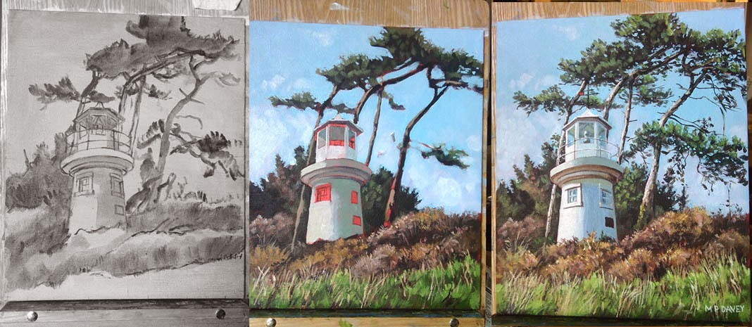 Lepe lighthouse at Hampshire WIP-acrylic painting