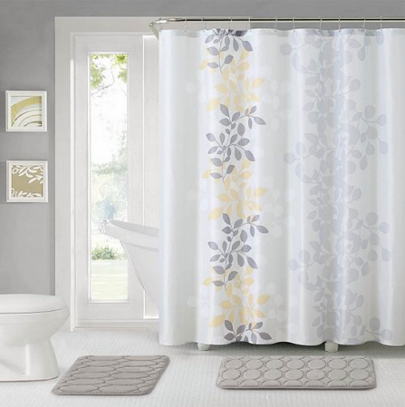 bathroom set which includes a shower curtain shower curtain hooks