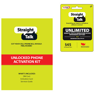 Straight Talk AT&T Compatible SIM w/ $45 AirTime Card Bundle