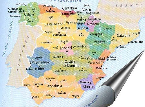 carte espagne autonomies capitales