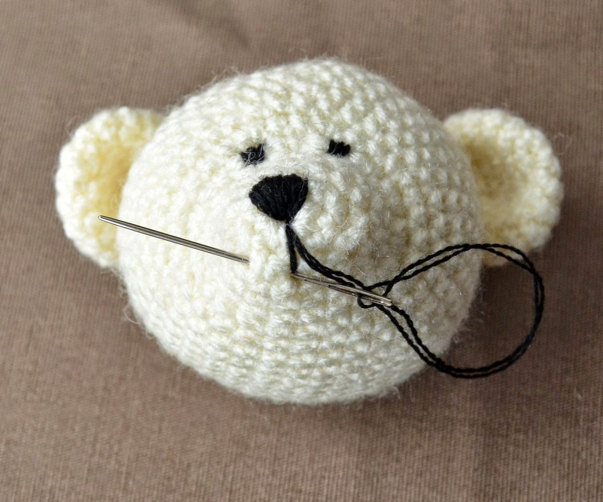 Then Follow The Pictures To Embroider Bear's Mouth With Short Stitches