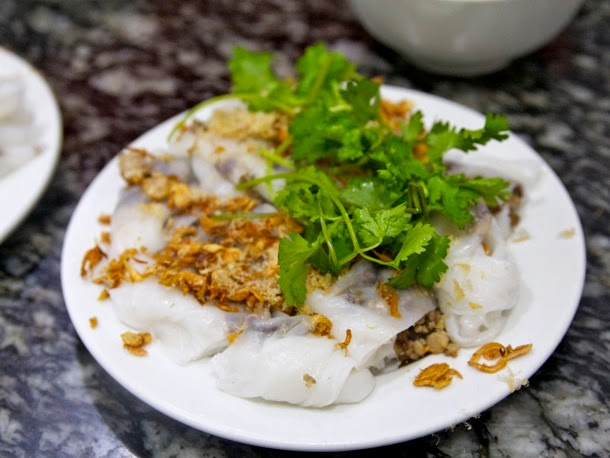 Bánh cuốn The bánh family includes a number of steamed rice cake-like dishes. So soft and delicate, my favorite was this bánh cuốn straight from the steamer