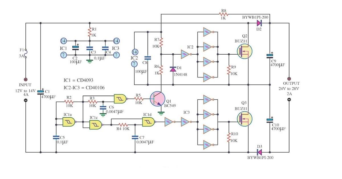 Wiring  U0026 Diagram Info  Simple Dc Converter Dc 12v To 24v 2a Wiring Diagram Schematic