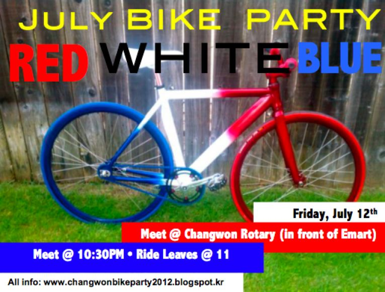 Changwon Bike Party July Bike Party Red White Blue Ride