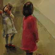 Young Girls in a Museum. oil on panel