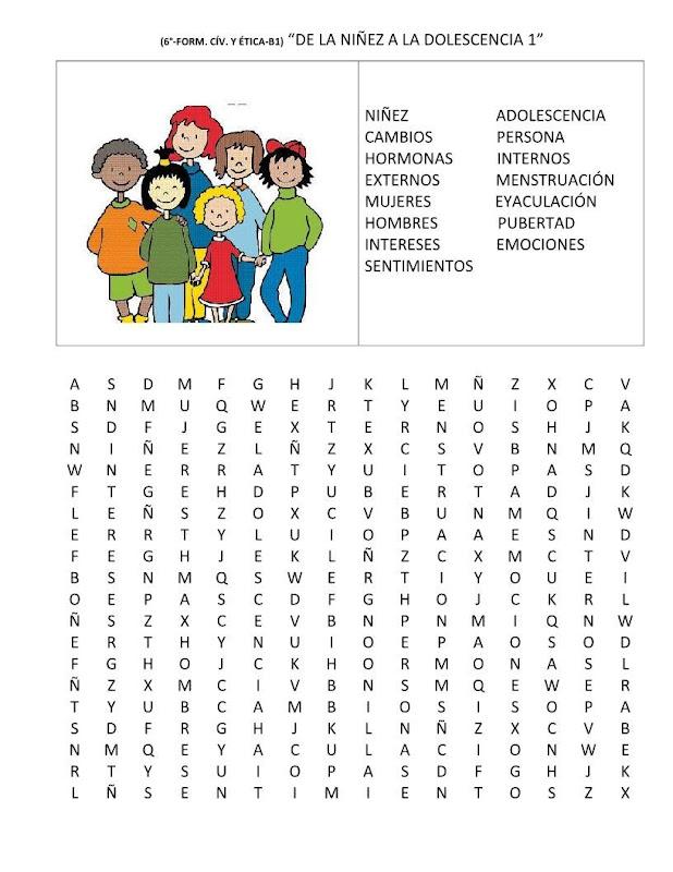 Sopa de letras niñez y adolescencia