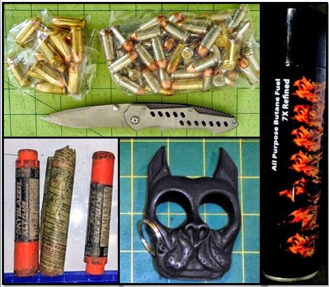 Misc. Items Discovered in Carry-on Bags: Bullets & Knife (JAX), Road Flares (SJC), Punching Tool (LAS), Butane (SDF)