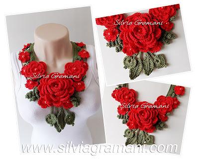Colar de crochê com flores, flores de crochê, Apostila ensinando como fazer colar de crochê com flores