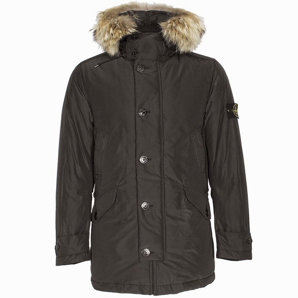 Stone Island Micro Reps Down Coyote Fur Hooded Parka Black