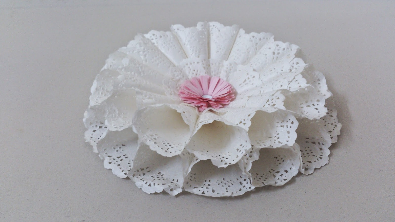 Handmade paper flower side view
