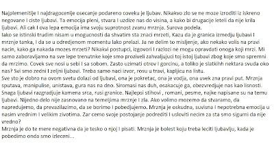 Sastav O Ljubavi I Mrznji Pismeni Iz Srpskog