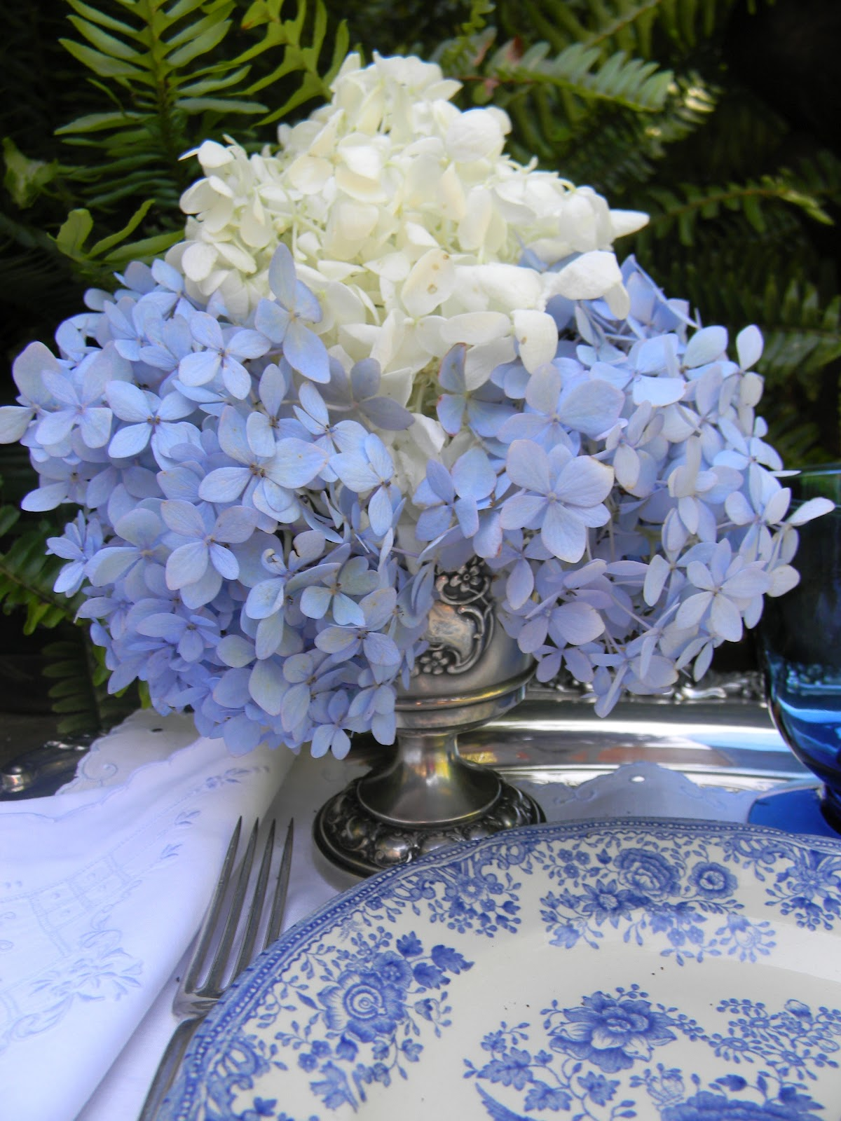 A Toile Tale Blue And White Hydrangeas With Asiatic Pheasant
