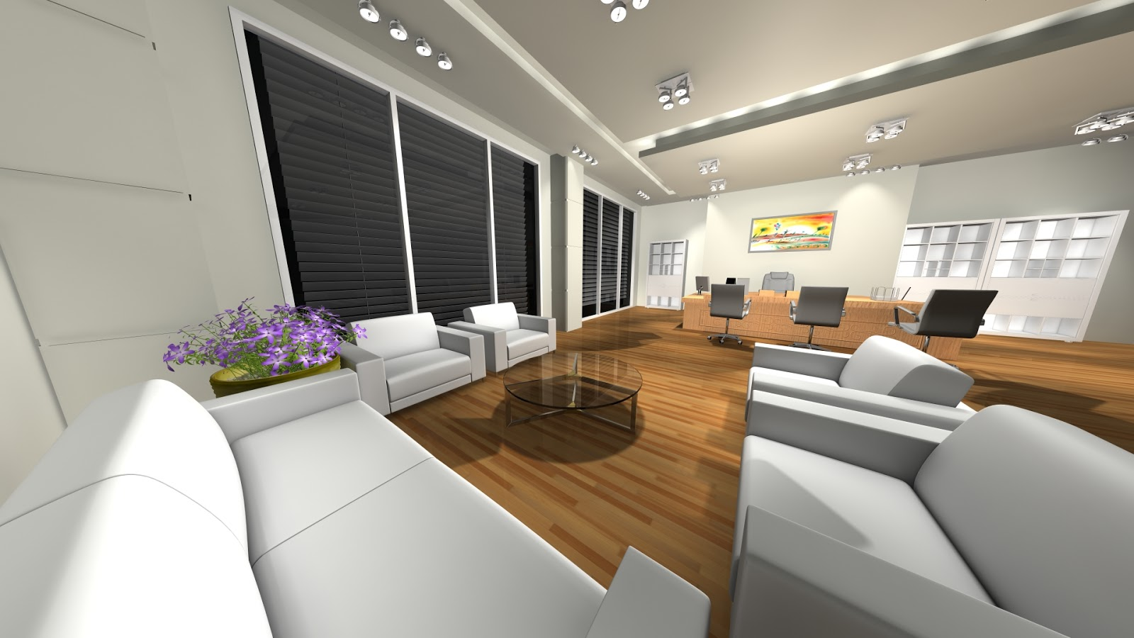 Sajid designer office room 3d interior design 3ds max for Office room interior designs
