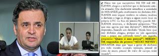 Delator diz que diretor da UTC deu propina de R$ 300 mil a Aécio, afirma jornal