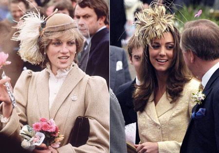 принцеса Даяна и Кейт Мидълтън с шапки с пера