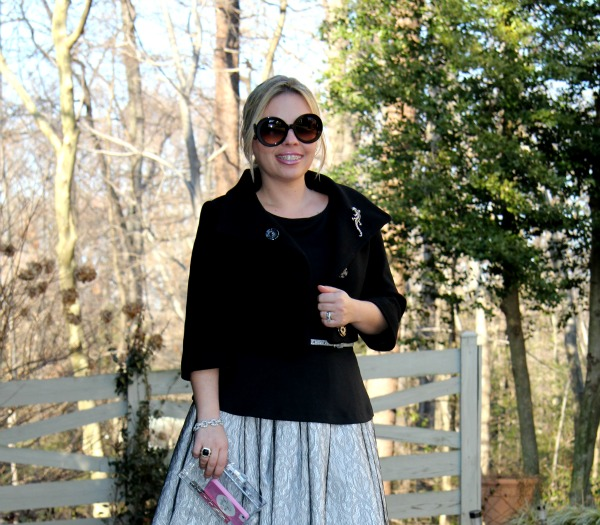 Double Cloth and Lace Dress and Acrylic Clutch from Zara, Ponte Peplum Tee from The Limited, Baroque Round sunglasses from Prada, Crop Jacket from Bebe, Silver and Black Onyx Ring from David Yurman, Bracelet from TJ Maxx