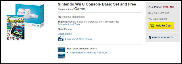 Best Buy is currently selling the Wii U Basic Set with a free copy of Nintendo Land for $299.99