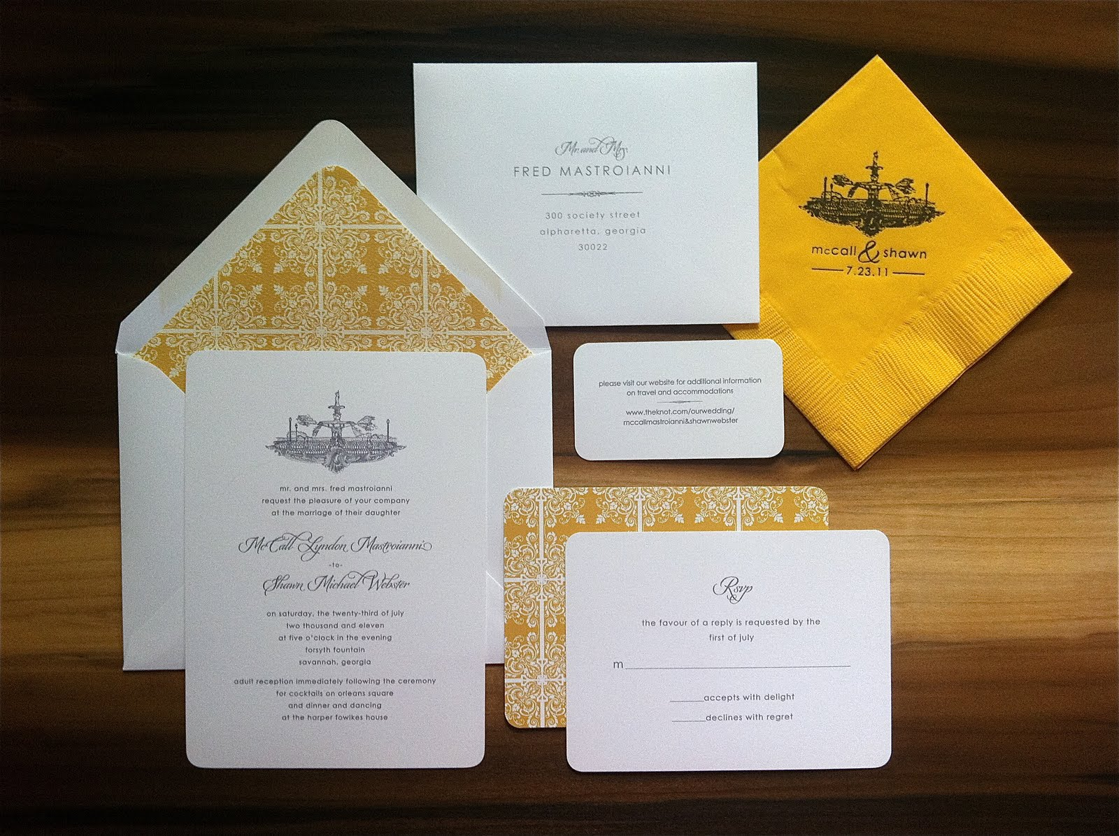 Savannah designer emily mccarthy blog wedding invitations wedding invitations forsyth fountain savannah ga stopboris Images