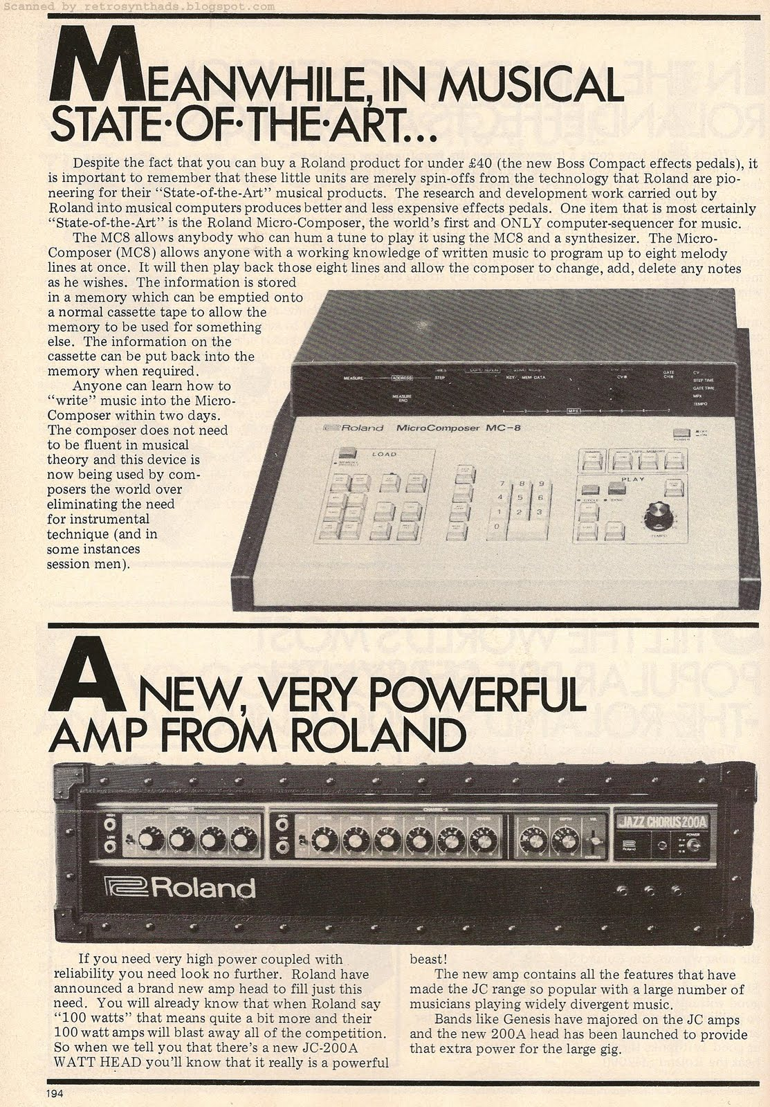 Retro Synth Ads  Roland   Brodr Jorgensen  UK  Ltd embedded 8 page