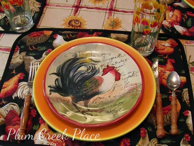 rooster tablescape