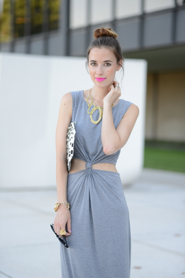 gray maxi dress with cut out sides, M Loves M