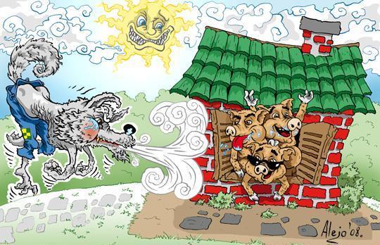 Ilustración de Los 3 chanchitos o tres cerditos y el lobo soplando