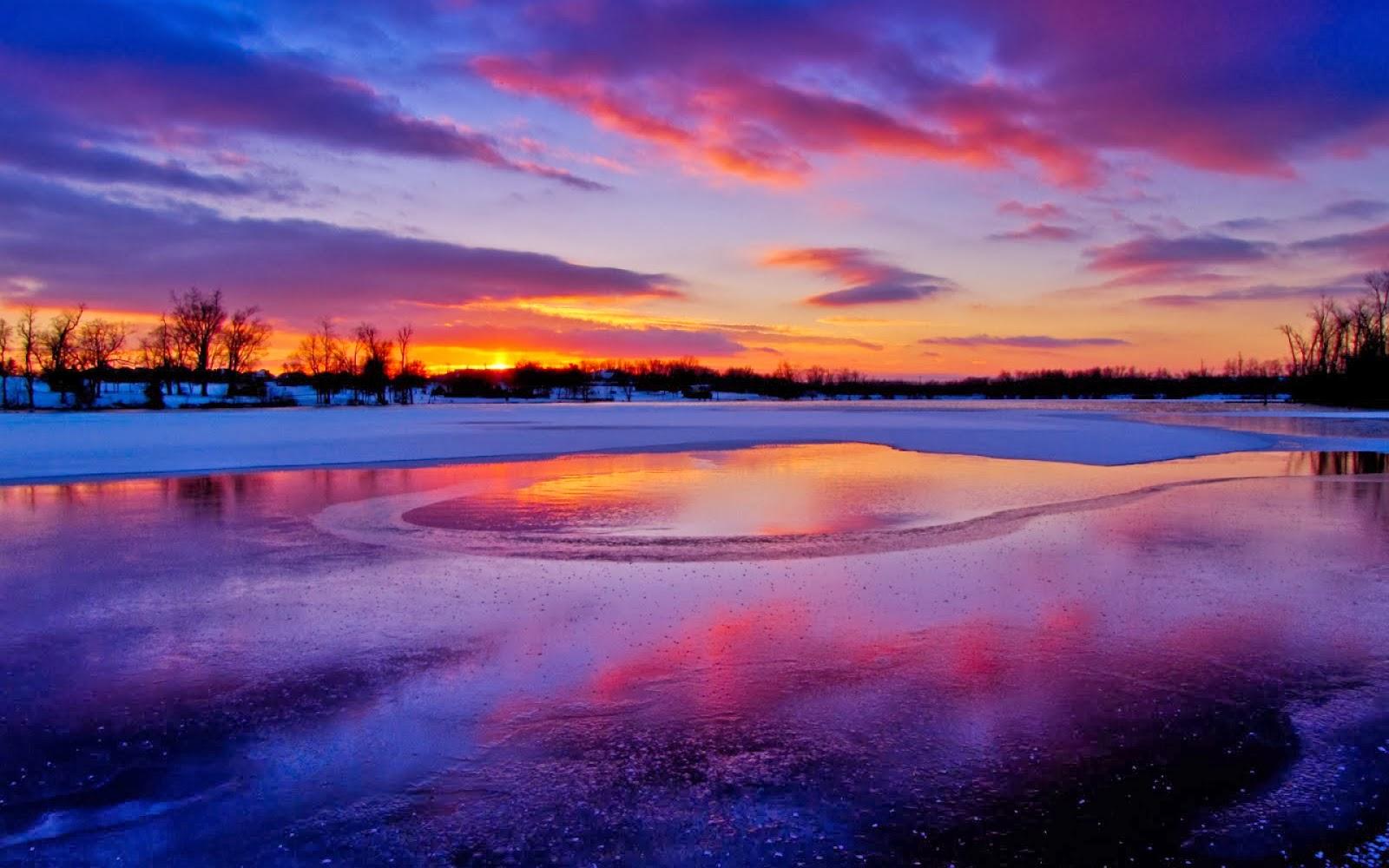 winter sunset hd wallpapers